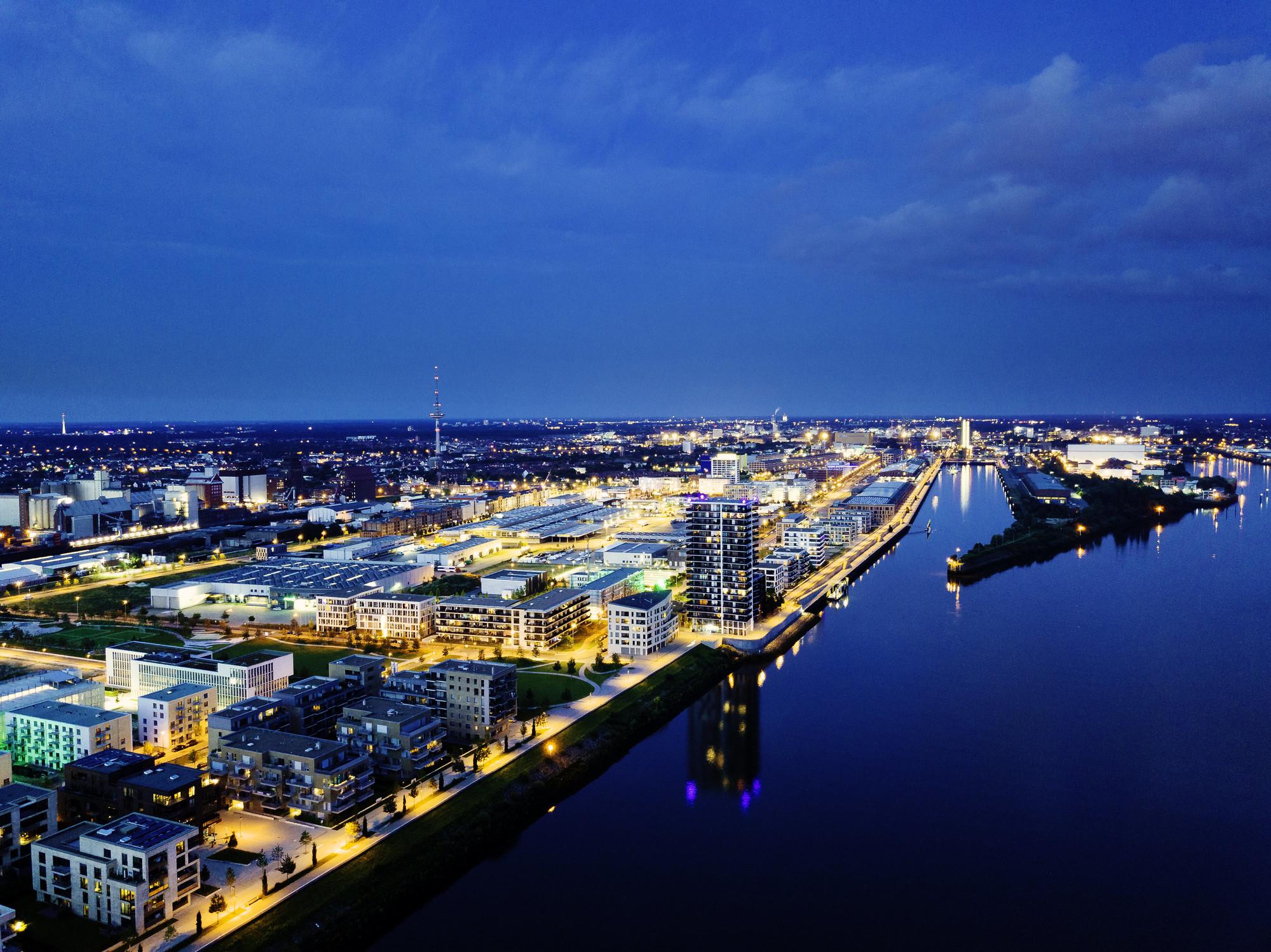 Die Überseestadt Bremen von Oben