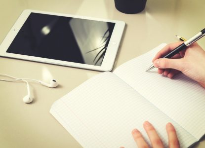 Notizbuch mit iPad
